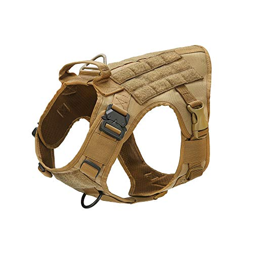 Tactical Dog Training Vest Molle k9 Harness with Pulling Handle and Front Clip Leash