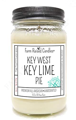 Key West Key Lime Pie. All American Hand-Made Mason Jar Candle.16 Ounces Over 80 Hour Burn. 100% Natural Soy Wax Candle.