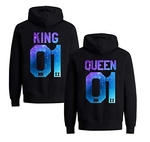 King Queen Pullover Couples Pulli Partner Geschenke Pärchen Hoodie Mr Mrs Partnerlook Kapuzenpullover für Paar Liebespaar (2020 Starry - King - 1 Stück, L)