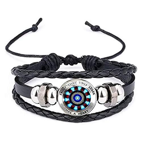 Pulsera Nuevo, Pulsera Tejida con Piedras Preciosas del Tiempo, Pulsera de Cuero, Reactor Glass Cabochon Charm Bracelet Bangles Jewelry