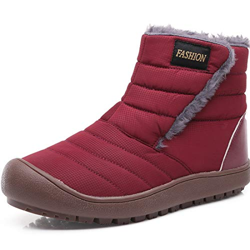 [SIXSPACE] スノーブーツ メンズ レディース ショート ブーツ スノーシューズ 防水 防寒 防滑 保暖 裏起毛 冬用 カジュアル 綿靴 雪靴 レッド 25 cm