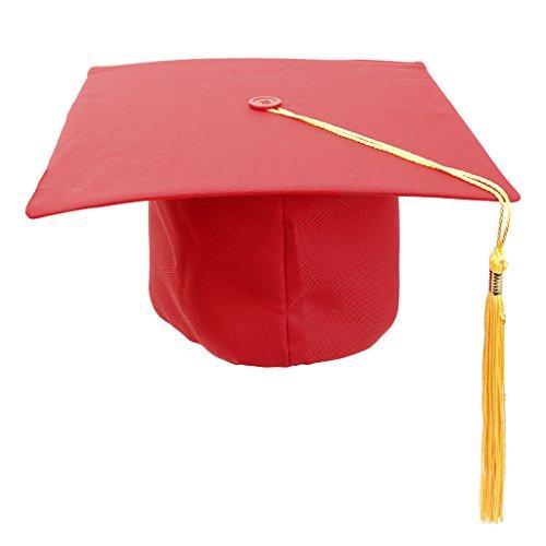 Generic Toque Etudiant Diplômé Chapeau Cérémonie Adultes Maître Médecin Guraduation - Rouge + Jaune