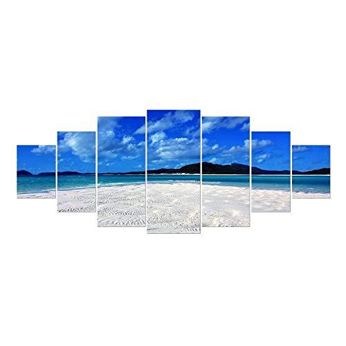 Startonight Grande Cuadro sobre Vidrio - Playa Serena - Moderno Impresión en Cristal Acrílico 7 Piezas 90 x 240 cm