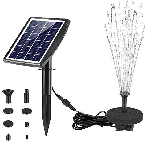 Fostoy Bomba de Fuente Solar 2W, Fuente Jardín Exterior Fuente Solar Flotante con 5 Boquillas, Bomba de Agua Fuente Solar para Estanque Pequeño, Pajaros, Piscina, Acuario