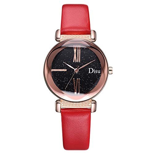 Fashion Damen Armbanduhr, Frauen Einfach Analog Quarz Uhr Sternenhimmel-Zifferblatt Uhr mit Lederarmband Quarzuhren Classic Damenarmbanduhr New Trend LEEDY