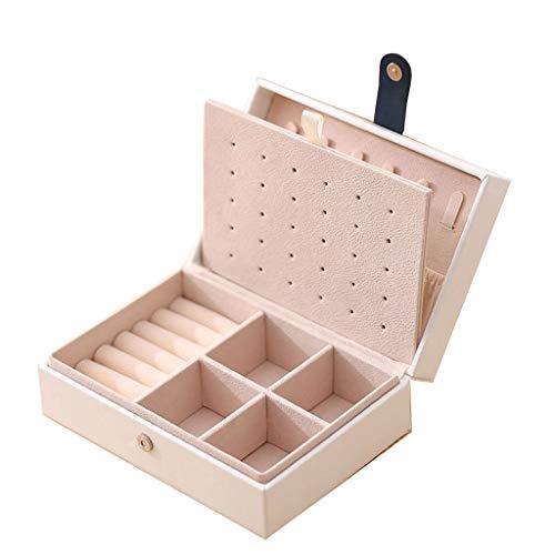 Joyería Joyero portátil para Mujer Caja de Almacenamiento de Pendientes Colgador de Collar Soporte de exhibición Caja de Almacenamiento Tapa (Color : Blanco, Size : 16 * 11 * 6cm)