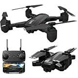 NLGToy Quadcopter Drone with Camera Live Video, 5G Selfi WiFi FPV GPS with 1080P HD Camera Foldable RC Quadcopter,Foldable Drone RTF Altitude Hold APP Control (Black 1)