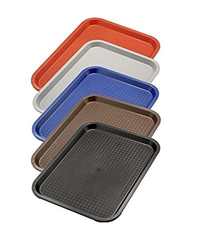 Serviertablett aus Polypropylen, mit Stapelnocken, reycelbar, Säure- und Chemiekalienresistent/in rot, grau, blau, braun oder schwarz mit unterschiedlichen Größen | ERK (A4-45 x 35 x 2 cm, Grau)