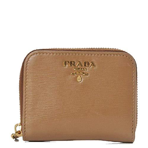 Prada Portamonete Vitello Move Caramel Beige Leather Zip Around Wallet 1MM268