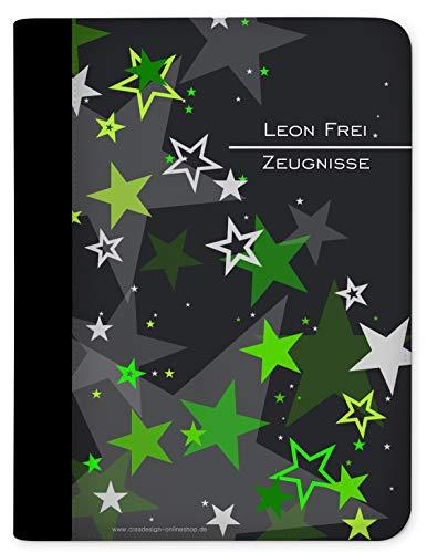 CreaDesign, Kinder Zeugnismappe mit Namen personalisiert, Motiv Sternenhimmel Grün ohne Klarsichthüllen, A4, 24 x 31 x 1 cm, Rücken schwarz