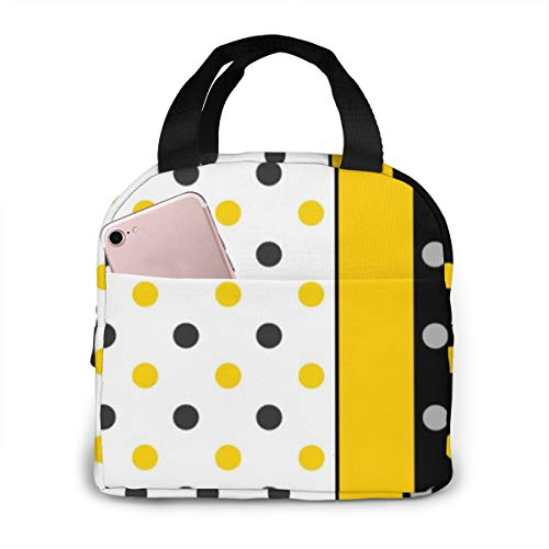 Yellow,Gray,Black And White Polka Dot Insulated Lunch Bags for Women Girls Cooler Tote Organizer Bags Reusable Waterproof Lunchbox for Adult Work,School and Travel Picnic