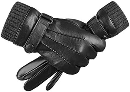 Lupovin-Keep Warm Touch Screen Sheepskin Gloves Raincoat Windproof Motorcycle Racing Good Finger Glove Non-Slip (Color : Black, Size : L)