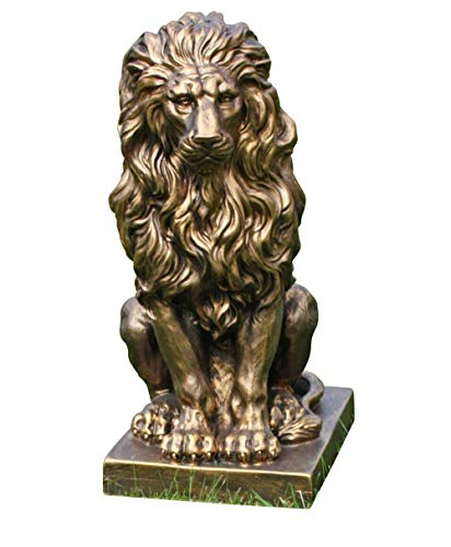 Fachhandel Plus Sitzender Löwe gold 57x27x38cm Statue Skulptur Deko Gartenfigur