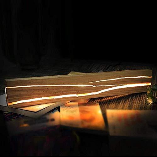 Holz LED Wandleuchte Innen Vintage Industrial Massivholz Riss Wandlampe Schlafzimmer Flur Lang Schwenkbar Verstellbar Warmweiß Nachttischlampe Dekoration Wandbeleuchtung Korridor Gang Bar 50cm VOMI