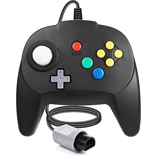FISUPER [Nueva versión] para controlador N64 Mando de juego para N64 – Plug & Play (versión USB no PC) (Joystick del Japón), color negro