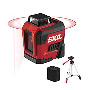 SKIL 65ft 360° Red Self-Leveling Cross Line Laser Level with Horizontal and Vertical Lines Rechargeable Lithium Battery with USB Charging Port Compact Tripod & Carry Bag Included - LL932201
