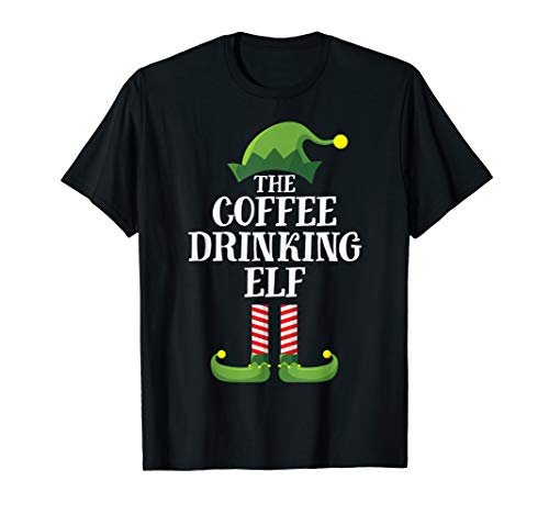 Coffee Drinking Elf Matching Family Group Christmas Party PJ T-Shirt