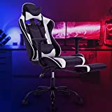 OffiClever Ergonomic Office Leather Adjustable and Swivel Reclining High Back Computer Chair with Lumbar Support and Headrest, White