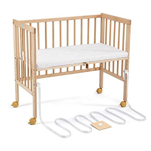 WALDIN Lit d'appoint ouvert pour bébé avec matelas et ceinture de tension, adapté aux lits boxspring, bois naturel ou laqué blanc, Couleur:non traité, Taille:Nature non traitée