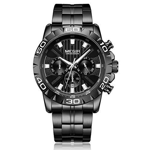 Hombre Relojs de Cuarzo Dial de Acero Inoxidable Reloj de Pulsera Casual Correa de Aleación Analógico Reloj Cronógrafo Impermeable Negocios Reloj de Pulsera