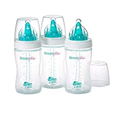 MODELED AFTER MOMS: The breastflow bottle is perfect for supplementing formula feeding, or weaning, your baby will love breastflow UNIQUE DESIGN: The breastflow bottle has a nipple within nipple design that allows for less air to be compressed; and u...