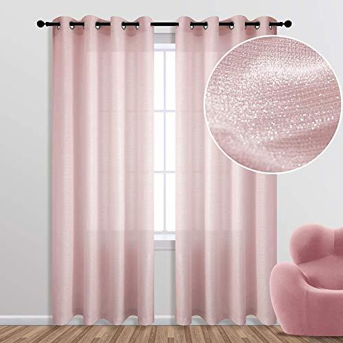 Rose Gold Curtains 84 Inch Length for Bedroom 1 Single Panel Grommet Window Semi Sheer Privacy Light Filtering Sparkle Metallic Shimmer Blush Pink Glitter Curtains for Girls Room Living Room
