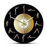 xinxin Reloj de Pared Surya Namaskar Set Yoga Post Acrílico Impreso Colgante de Pared Reloj Saludo The Sun Mute Wall Art Watch Yoga Studio Decoración Hermoso y Exquisito Estilo único