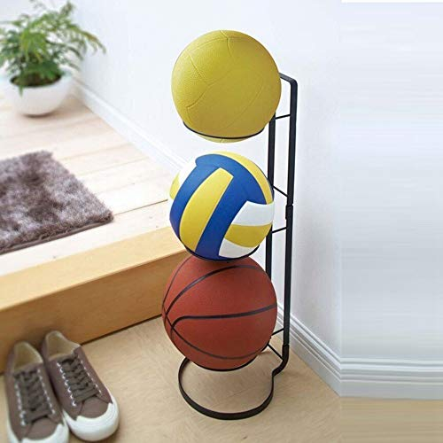 KIKIRon-Sports Ball Storage Rack 3 Stack Basketball Rack Vertical Ball Storage Rack Iron Ball Rack For Home (Color : Black, Size : 20.5x25.5x65cm)