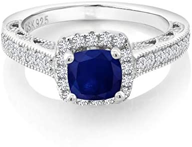 Gem Stone King 925 Sterling Silver Blue Sapphire and White Created Sapphire Women Engagement product image