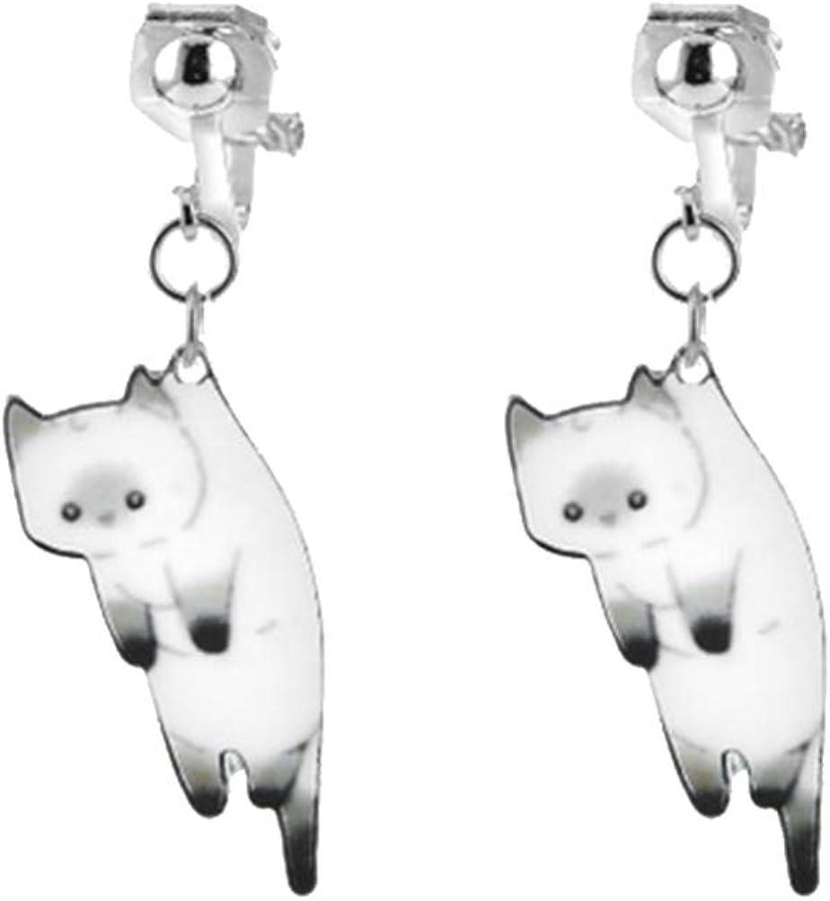 FENICAL Cat Ear Pendant Cute Clip On Earrings Without Piercing Eardrops or Women Ladies