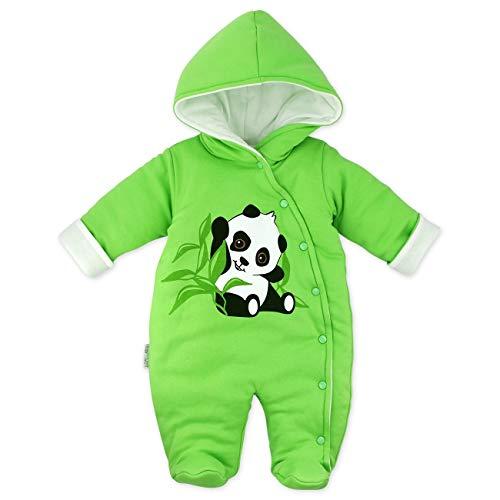 Baby Sweets Baby Winter Overall Unisex grün im Motiv: Happy Panda als Baby Schneeanzug mit Kapuze für Neugeborene & Kleinkinder in der Größe: Newborn (56)