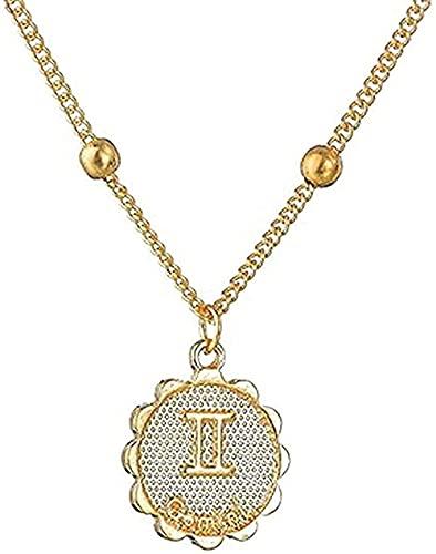 WYDSFWL Collar Doce horóscopo Collar Mujer Colgante Oro Signo de Estrella Collar Cadena de león 12 constelación joyería de cumpleaños Regalos