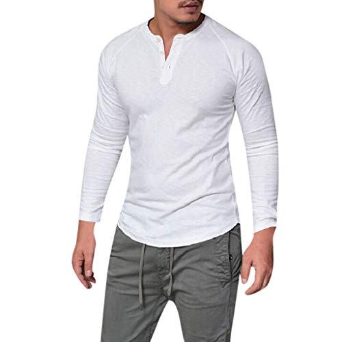 DNOQN Herren Pullover Slim Fit Baumwoll Shirts Mode Männer Schlank Lässige Muskeln Solide Langarm V-Ausschnitt Tops Bluse T-Shirts XL