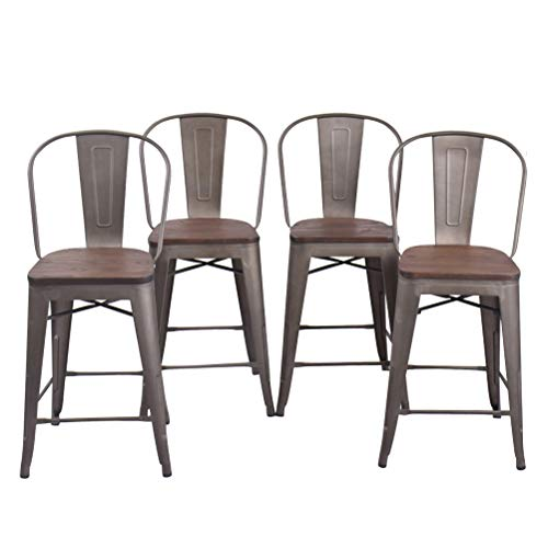 Changjie Furniture High Back Metal Bar Stool Kitchen Counter Bar Stools Set of 4 (High Back Rusty Wooden, 26 inch)
