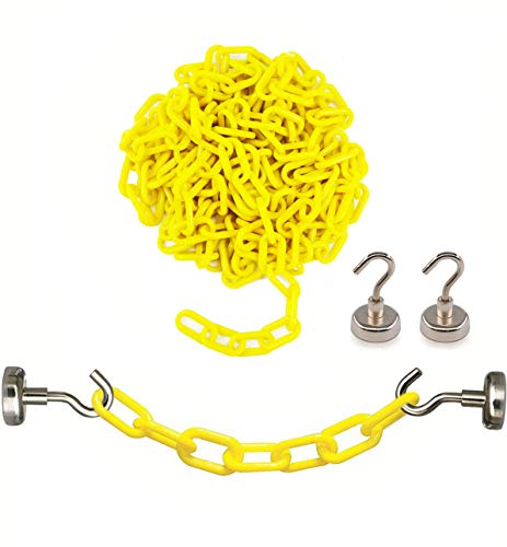 Reliabe1st Yellow Plastic Safety Barrier Chain (13 Feet) with 2 Magnetic Hooks | Loading Dock Kit | Caution Security Chain Safety Chain for Crowd Control, Construction Site | Safety Barrier