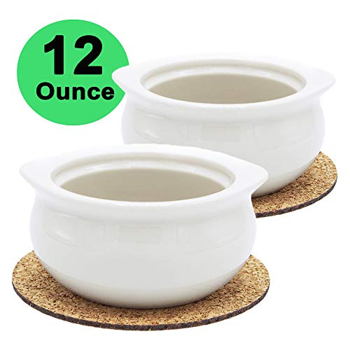 Premium Porcelain 12 Ounce Onion Soup Bowls - American White - Set of 2 with Cork Coasters - Classic European Style Healthy Portion Crocks – Oven- Microwave- Dishwasher safe