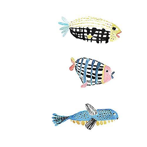 WSNDGWS Minimalista Moderno Pequeño Fresco de Dibujos Animados Acuarela Pescado Pintura sin Marco Lienzo Pintura Decorativa Sin Marco de Imagen B2 30x40cm