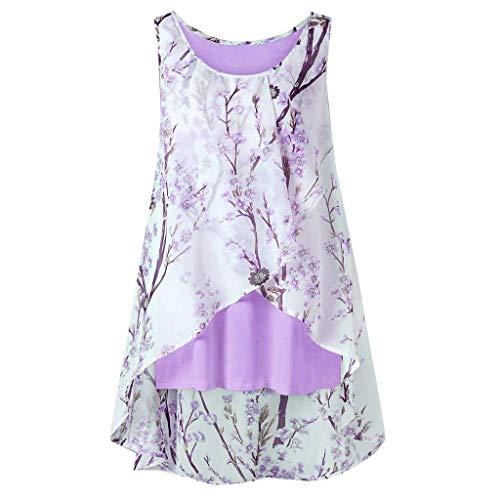MRULIC Geschenk Zum Muttertag Frauen Sleeveless Chiffon Solide Weste Bluse Tank Tops Camis Kleidung (A-Violett,EU-50/CN-4XL)