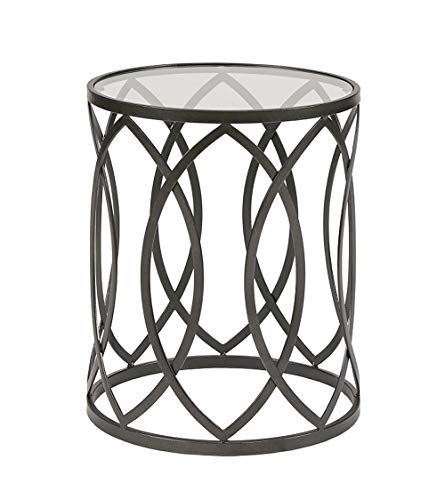 Madison Park Arlo Accent Tables For Living Room, Glass Top Hollow Round, Small Metal Frame Geometric Eyelet Pattern Luxe Modern Stylish Nightstand Bedroom Furniture, Black -  MP120-0693