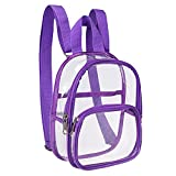 Clear Mini Backpack Stadium Approved, Water proof Transparent Backpack for Work, Security Travel, Concert & Sport Event (Purple)