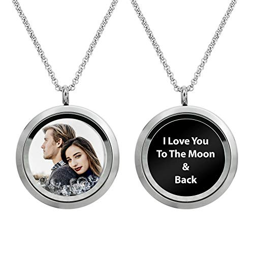 Full Color Photo Printing + Laser Engraved Message Personalized Picture Floating Locket Clear Crystals Pendant Necklace To Wife Nana Sister Family Memorial Love Valentines Sweet 16 Birthday Gift