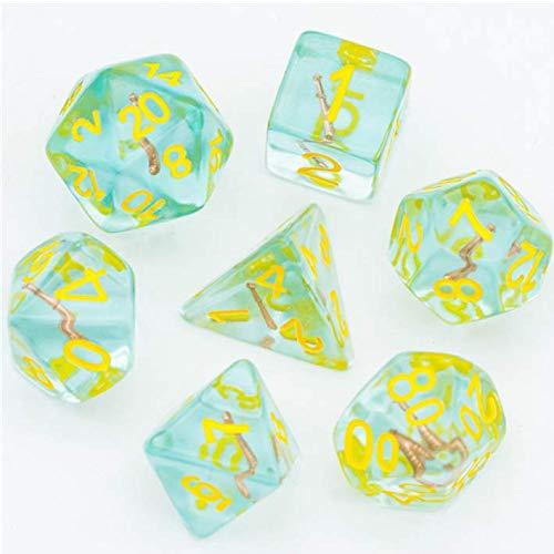 CLERIC - Juego de dados poliédricos de mazmorras y dragones, color azul, dorado maza DND D&D 5e. Kit caótico