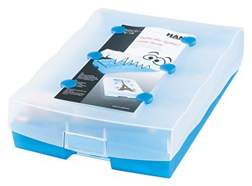HAN CROCO 2-6-19 Karteikasten A8 9988-643, Lernbox in Transluzent-Blau – Lernsystem für Vokabeln - dank Kästchen Schieben ins Langzeitgedächtnis – Ideal als Schulbedarf & Lernmaterial