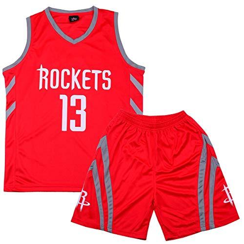 Formesy Bambini Ragazzi Ragazze Uomo Adulto NBA Harden#13 Rockets Retro Pantaloncino e Maglia Basketball Jersey Basket Maglie Uniforme Top & Shorts 1 Set