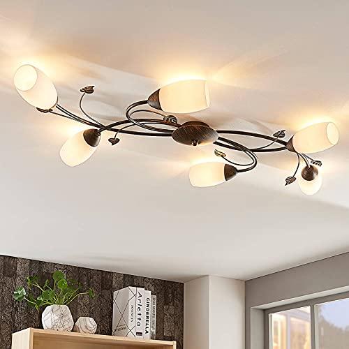 Plafoniera LED 'Stefania' (Antico) colore Marrone, in Vetro ad es. Soggiorno & Sala da pranzo (6 luci, E14, A+, lampadina inclusa) di Lindby | lampada LED, plafoniera LED, plafoniera