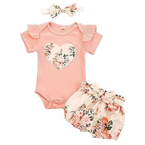 Geagodelia 3tlg Baby Kleidung Outfit Mädchen Babykleidung Set Kurzarm Body Strampler + Blumen Shorts + Stirnband Neugeborene Weiche Sommer Babyset (Pink - Herz, 0-3 Monate)