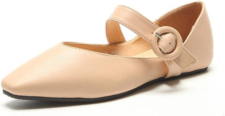 BeautyOriginal Women's Spring Retro Square Head shoes Shallow Mouth Low Flat shoes