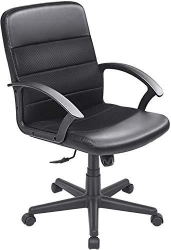 Executive Office Chair Computer Task Chair mit Armen Mesh Ledersessel mit mittlerer Rückenlehne (Schwarz)