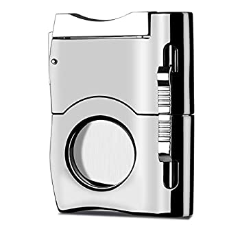 Camlinbo Cigar Cutter with 2 Cigar Punches Premium Stainless Steel Blades Guillotine Cigar Accessories Sharp Cigar Clipper Scissors in Gift Box Cigars Gift Set for Men Birthday Gifts