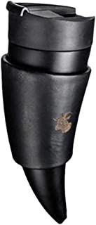 Wind-Susu Coffee Mug Drinking Glasses Fashionable Goat Horn Shaped Stainless Steel Vacuum Cup Couple Thermos Cup for Outdoor Travel Home Offices Cars 230ml, White, Black